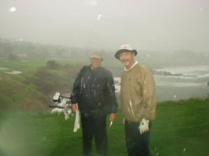 Players, Caddie soaked ay Pebble Beach No. 8