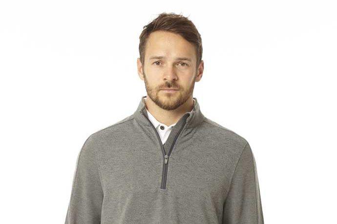 model wearing golf pullover