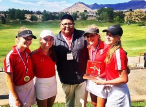 Jason Montoya with Albuquerque Academy golfers