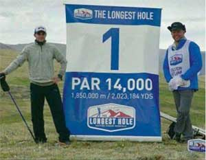 Adam Rolston and Ron Rutland at the start of 80-day Mongolian golf trek