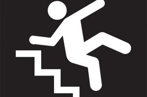 cartoon image of man falling down stairs