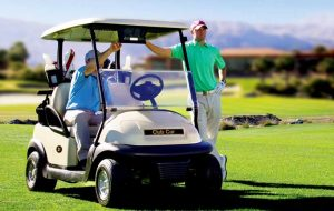 Shark Experience in golf cart with two players