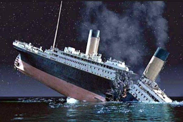 Titanic as it sinks