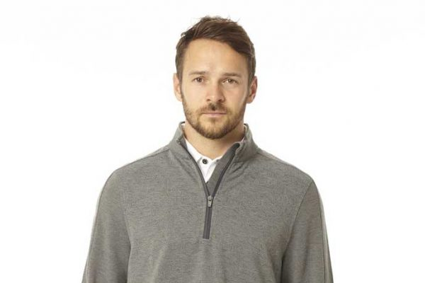 model wearing golf pullover